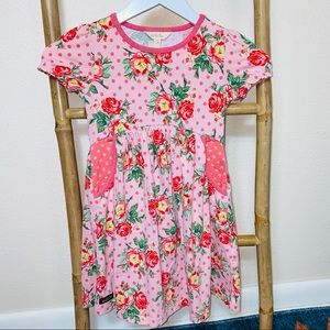 Matilda Jane play dress polka dot 6 pink floral